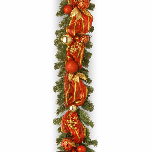 National Tree Co. Decorative Collection Striped Ribbon Christmas Garland