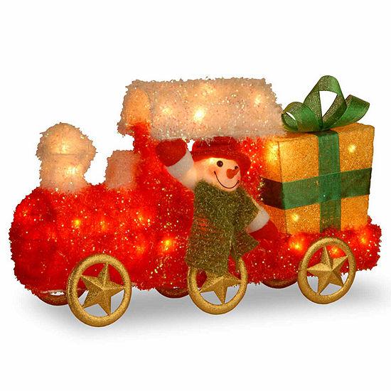 National Tree Co. Train Snowman Christmas Holiday Yard Art