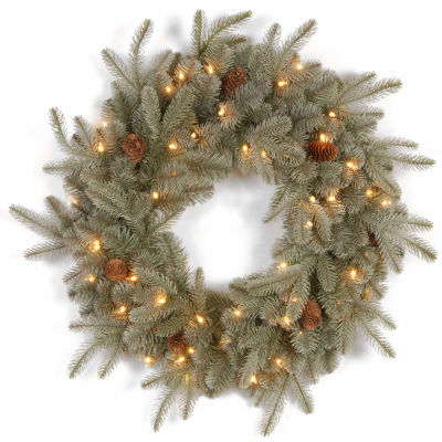 National Tree Co. Frosted Artic Spruce Feel Real Indoor/Outdoor Christmas Wreath