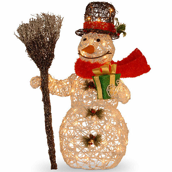 National Tree Co. White Rattan Snowman Christmas Holiday Yard Art