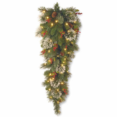 National Tree Co. Wintry Pine Teardrop Swag Christmas Holiday Yard Art