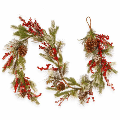 National Tree Co. Pine Cones And Berries Flocked Evergreen Flocked Christmas Garland