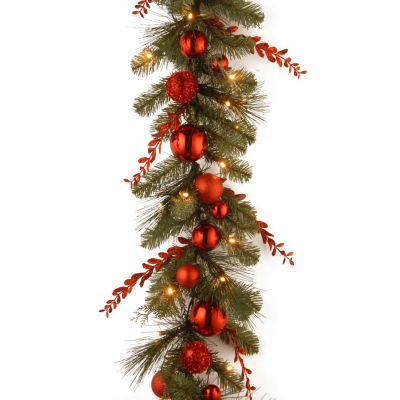 National Tree Co. Christmas Red Mixed Indoor/Outdoor Christmas Garland
