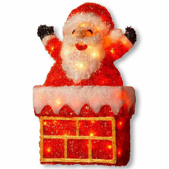 National Tree Co. Tinsel Santa Christmas Holiday Yard Art