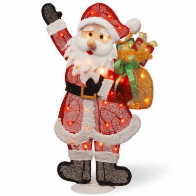 National Tree Co. Tinsel Santa Holiday Yard Art
