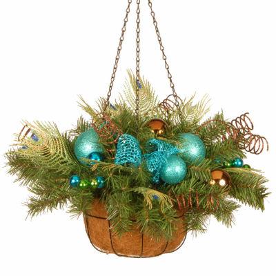 National Tree Co. Peacock Christmas Hanging Basket