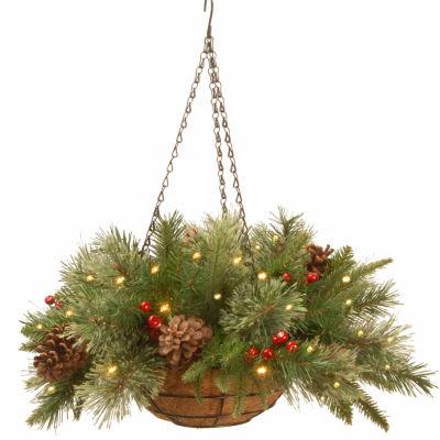 National Tree Co. Colonial Feel Real Christmas Hanging Basket