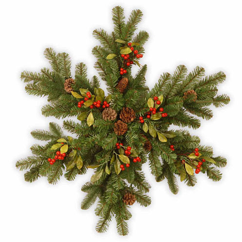 National Tree Co. Berry Leaf Snowflake Holiday Yard Art