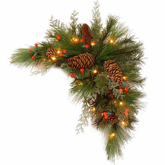 National Tree Co. White Pine Corner Swag Christmas Holiday Yard Art