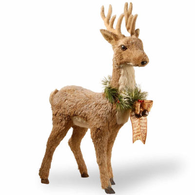 National Tree Co. Handcrafted Straw Standing Deer Animal Figurines