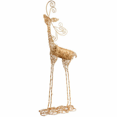 National Tree Co. Handcrafted Rattan Deer Animal Figurines