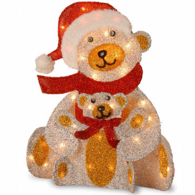 National Tree Co. Whimsical Fabric Bear And Cub Animal Figurines