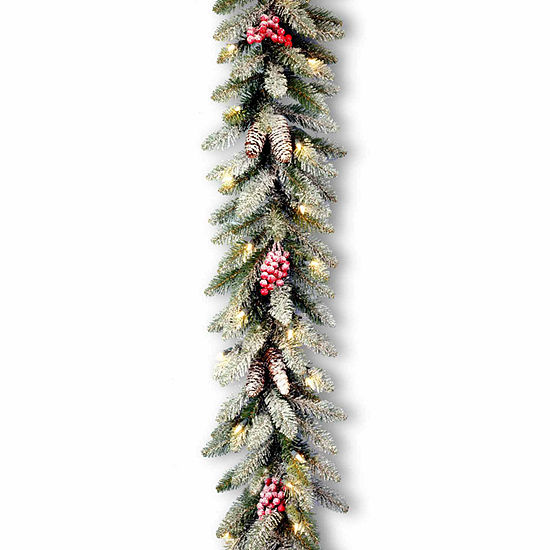 National Tree Co. Snow Splashed Dunhill  Fir Indoor/Outdoor Christmas Garland