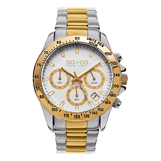 So & Co Mens Multi-Function Silver Tone Stainless Steel Bracelet Watch-Jp15579