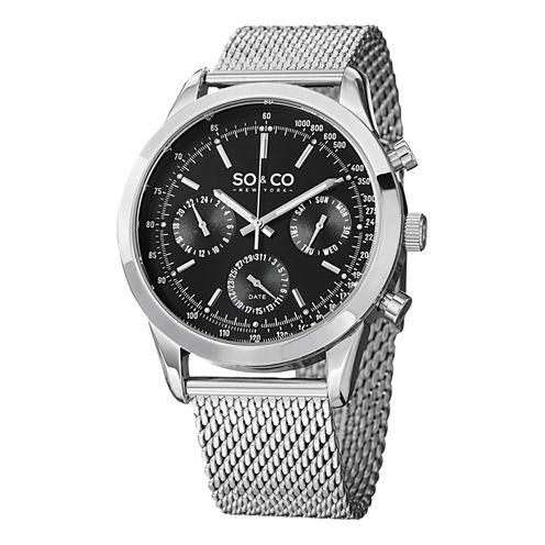 So & Co Mens Silver Tone Bracelet Watch-Jp15211