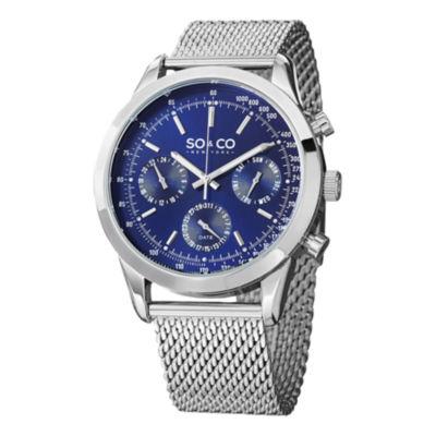 So & Co Mens Silver Tone Bracelet Watch-Jp15212