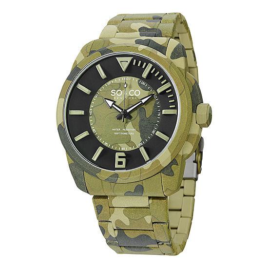 So & Co Mens Green Stainless Steel Bracelet Watch-Jp15039