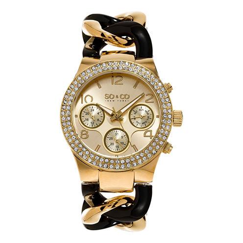 So & Co Womens Gold Tone Bracelet Watch-Jp15515
