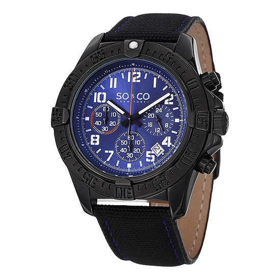 So & Co Mens Multi-Function Black Leather Strap Watch-Jp15155