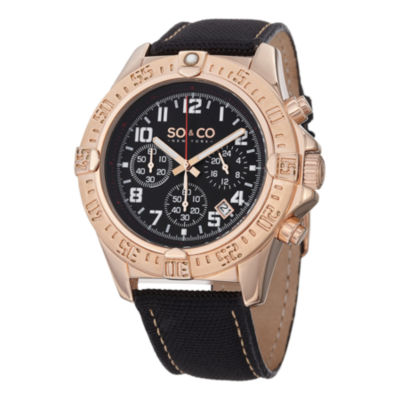 So & Co Mens Black Strap Watch-Jp15156