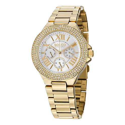 So & Co Womens Gold Tone Strap Watch-Jp15194