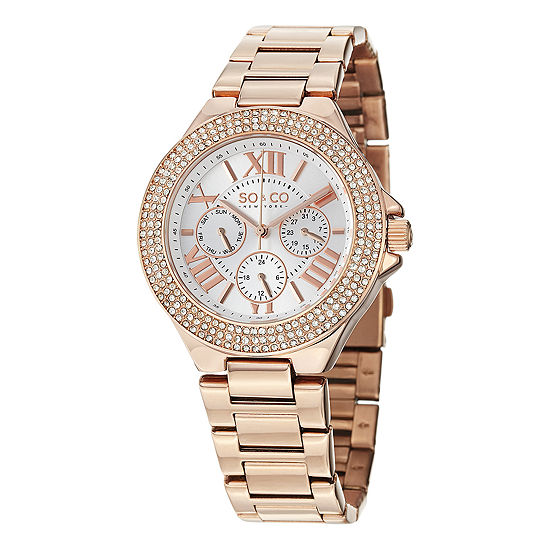 So & Co Womens Multi-Function Rose Goldtone Stainless Steel Strap Watch-Jp15195