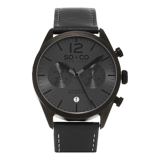 So & Co Mens Gray Leather Strap Watch-Jp15450