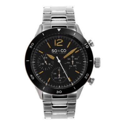 So & Co Mens Silver Tone Bracelet Watch-Jp15456