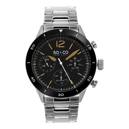 So Co Mens Silver Tone Bracelet Watch Jp15456