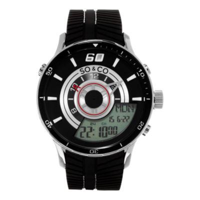 So & Co Mens Black Strap Watch-Jp15516