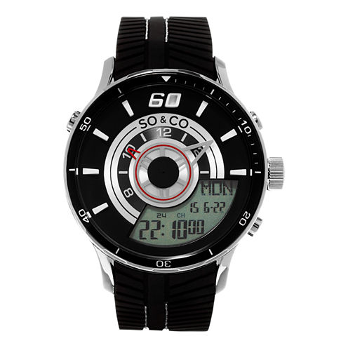 So & Co Mens Black Strap Watch-Jp15516