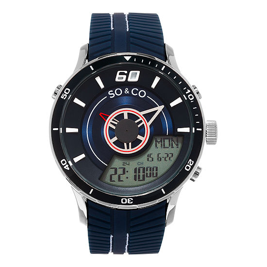 So & Co Mens Multi-Function Blue Stainless Steel Strap Watch-Jp15517