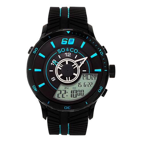 So & Co Mens Black Strap Watch-Jp15518