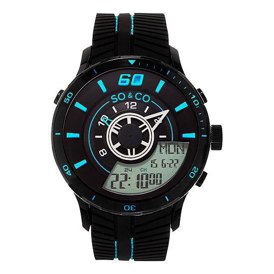 So & Co Mens Multi-Function Black Stainless Steel Strap Watch-Jp15518