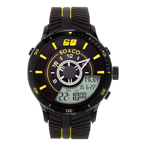 So & Co Mens Black Strap Watch-Jp15521