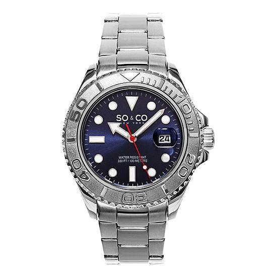 So & Co Mens Silver Tone Bracelet Watch-Jp15474