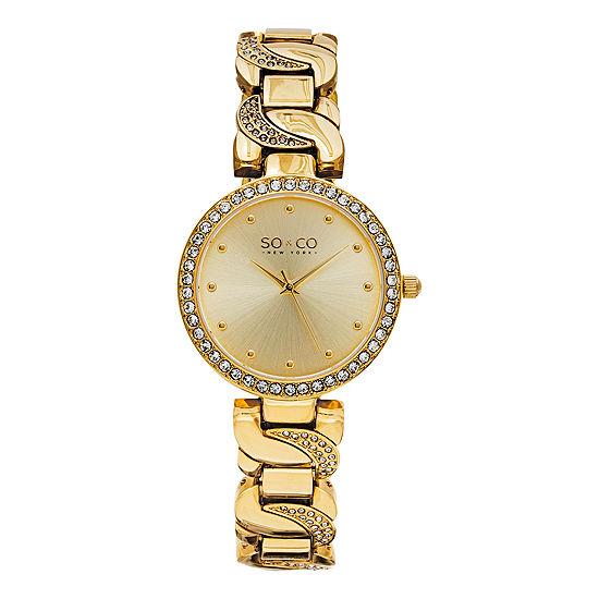 So & Co Womens Gold Tone Stainless Steel Bracelet Watch-Jp15582