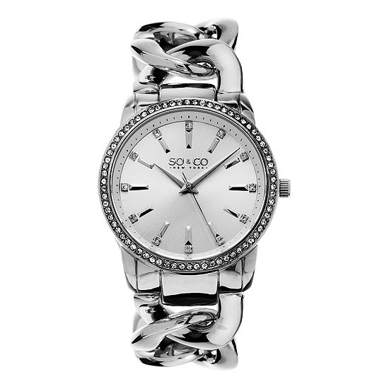 So & Co Womens Silver Tone Stainless Steel Bracelet Watch-Jp15554