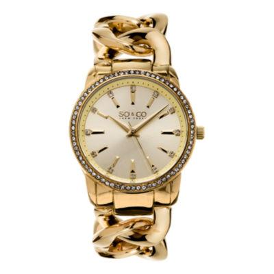 So & Co Womens Gold Tone Bracelet Watch-Jp15556