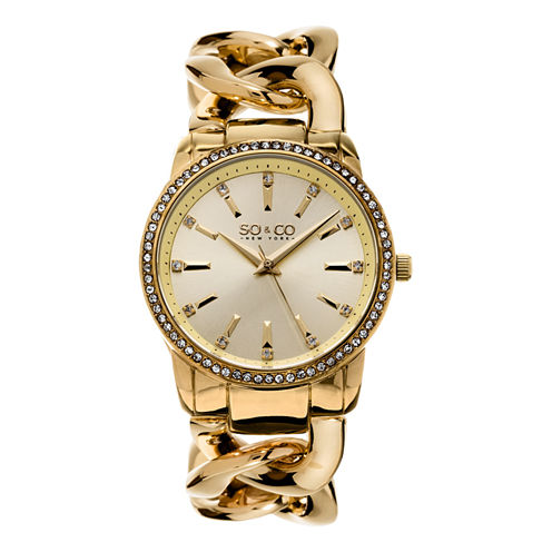 So & Co Womens Gold Tone Bracelet Watch-Jp15556