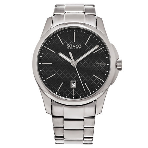 So & Co Mens Silver Tone Bracelet Watch-Jp15882