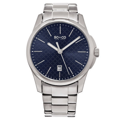 So & Co Mens Silver Tone Bracelet Watch-Jp15884