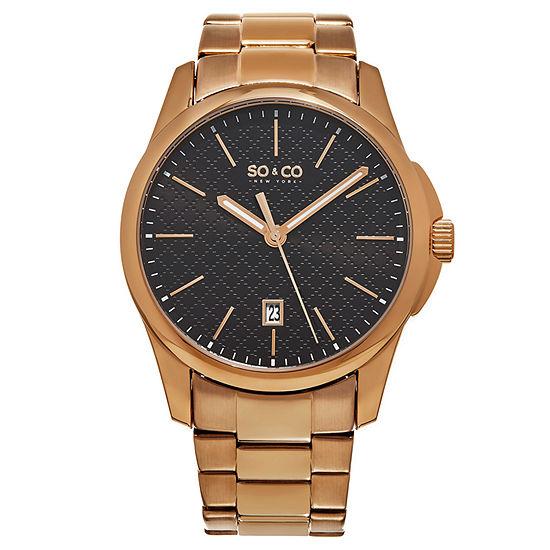 So & Co Mens Rose Goldtone Stainless Steel Bracelet Watch-Jp15886