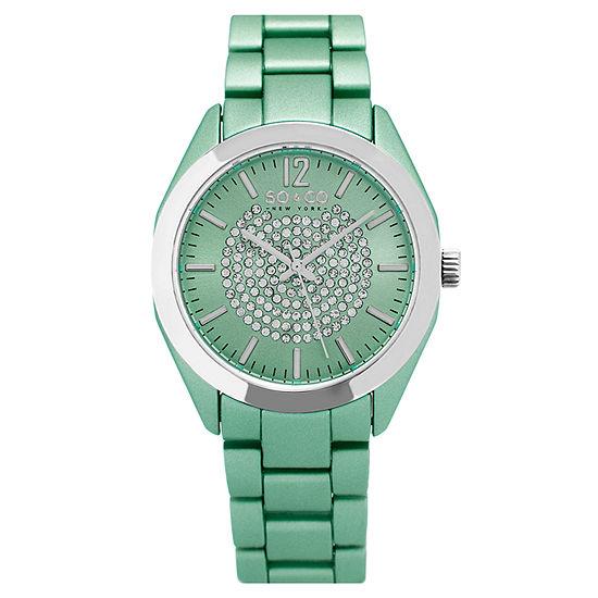 So & Co Womens Green Stainless Steel Bracelet Watch-Jp15892