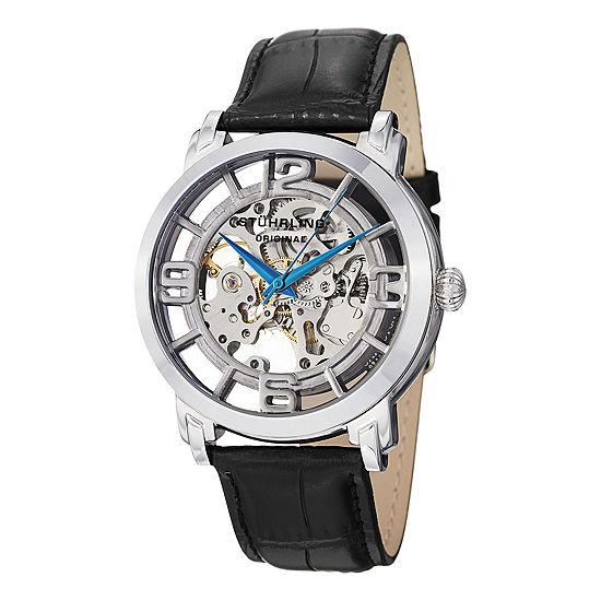 Stuhrling Mens Black Leather Strap Watch-Sp11334