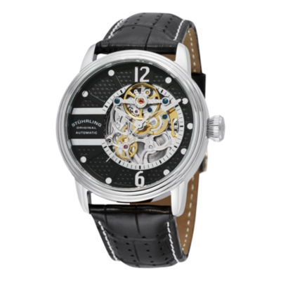 Stuhrling Mens Automatic Black Leather Strap Watch-Sp11787