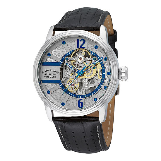 Stuhrling Mens Automatic Black Leather Strap Watch-Sp11790