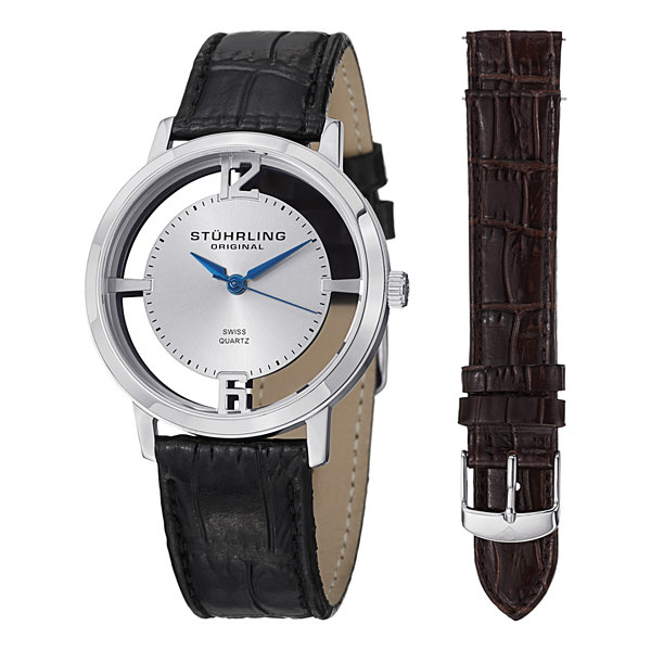 Stuhrling Mens Black Strap Watch-Sp14693