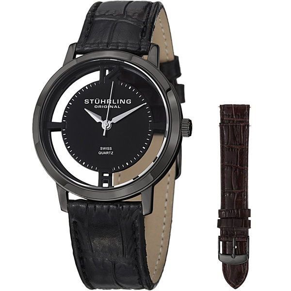 Stuhrling Mens Black Strap Watch-Sp14696
