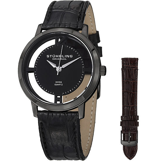 Stuhrling Mens Black Leather Strap Watch-Sp14696